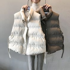 Loose Chic Stand Collar Waistcoat Warm Cotton Vest | Down Vest, Puffer Vest, puffer outfit Puffer Jackets, Winter Jackets, Puffer Vest, Classy Work Outfits, Hogwarts, Cotton Vest, Down Vest, Blouses For Women, Winter Outfits