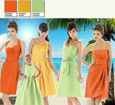 Shades of Citrus for a Tropical Wedding Day. Choose brights so that the shades stand up to the strong light.