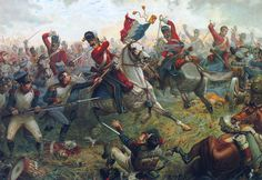 Sgt. Ewart captures the Eagle and Standard of the French 45th Regiment of the Line during the famous charge of the Scots Greys at Waterloo, ...