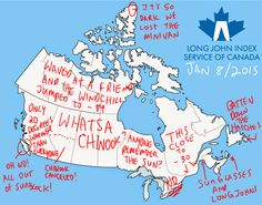 Canada Weather Map and Long John Index Summary - Nov 2015 — The Long John Index Service of Canada Canada Day Party, Fair Day, Rain Parka, Canadian Winter, Northwest Territories, Quebec City, Atlantic City, Surfing, Weather