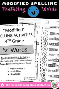 Do you have struggling spellers in your fourth grade class? These differentiated activities take common 4th grade spelling words and make them easier to learn. There is a set for words beginning with each letter of the alphabet, helping kids stay focused and gain mastery in the most used words. #spelling #modifiedspelling #specialeducation #sociallyskilledkids