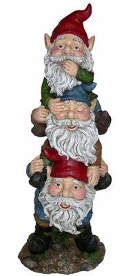When one garden gnome just isn't enough... This reminds me of the stretching painting in the Haunted Mansion. Three Gnomes Statuary | Garden Fun