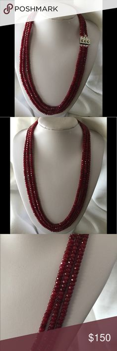 Natural Ruby 3 strands, silver plate clasp NATURAL RUBIES FOR CHRISTMAS!!! These are not flawless. They are enhanced, but many retail stores sell enhanced stones at very high prices. These are just beautiful! The light dances off the rubies like only natural stones can. $165 Jewelry Necklaces