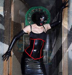 fetish glam posed door