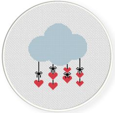 FREE for Aug 24th 2014 Only - Heart Cloud Cross Stitch Pattern