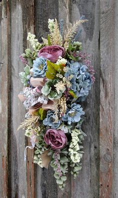 Spring Swag, Spring Wreath, Country French Swag, Easter Wreath, Spring Victorian Swag, Victorian Wreath, Elegant Floral Swag, Designer Swag Belmont Garden Swag. Hydrangea, Cabbage Roses, Wisteria and other garden favorites in soft romantic hues of dusty mauve, powder blue, sage
