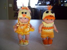 "Berenguer 5"" Baby Dolls - Boy Duck and Girl Chicken outfits #33"