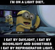 I'm on a light diet. I eat by daylight, I eat by moonlight and sometimes I eat by refrigerator light. - minion