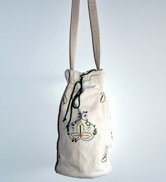 Hand Embroidered Canvas Pouch Bag, Greek Traditional Pattern
