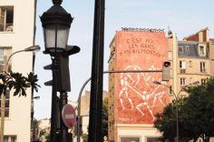"""Menilmontant district, rue de Menilmontant, Paris XX. Jérôme Mesnager : """" C'est nous les gars d'Menilmontant"""" (street art)"""