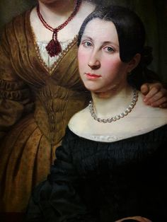 Detail of portrait of two women by Anonymous from Germany, National Museum in Warsaw. Warsaw, National Museum, Anonymous, Germany, Detail, Portrait, Collection, Women, Fashion
