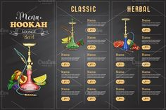 Vector color menu design front page hookah bar fruits on a chalk board All text convert to outline Hookah Lounge Decor, Lounge Bar, Free Design, My Design, Logo Design, Menue Design, Hookah Pipes, Nightclub Design, Barrel Table