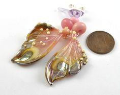 2 Strawberry Butterfly Wings : Lampwork Beads by mandrel2 on Etsy