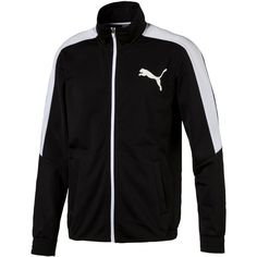Puma Men's Contrast Zippered Track Jacket ($60) ❤ liked on Polyvore featuring men's fashion, men's clothing, men's activewear, men's activewear jackets, mens track tops, mens activewear and mens track jackets