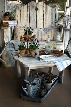shabby chic porch decor - love the chair!