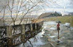 Rain on the Waterfront by Dimitri Spiros Landscape Art, Landscape Paintings, Rain Art, Impressionist Artists, Walking In The Rain, City Scene, Fantasy Paintings, Art Portfolio, Traditional Art