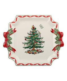 Look what I found on #zulily! Christmas Tree Ribbons Collection Square Platter #zulilyfinds