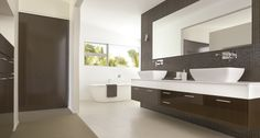 Photos and videos of Polytec products in homes and commercial buildings. Bathroom Inspiration, Bathroom Ideas, Hotel Suites, Bathroom Renovations, Double Vanity, Custom Bathrooms, Toilet, Photo Galleries, Mirror