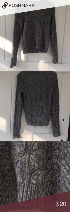SALE Fuzzy gray sweater This sweater is it great shape. It has only been worn a couple of times. It is very comfortable and warm (great for the cold weather coming soon) Also, I wear mostly xs-s and this sweater is a medium but I think it would be tight for a medium. (: Abercrombie & Fitch Sweaters Crew & Scoop Necks
