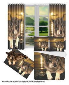 #Dog German Shepherd duvet cover, pillow case, area rug, window curtains. Design by #erikakaisersot  sold by @artsadd http://www.artsadd.com/store/erikakaisersot?rf=11001