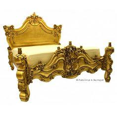 Royal Fortune Montespan Bed - Antiqued Gold Leaf www.fabulousandbaroque.com