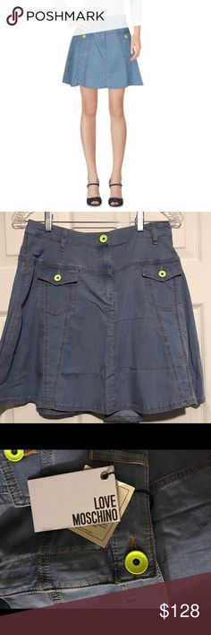 """NWT Love MOSCHINO Denim Skirt Neon Buttons Sz 6 Love Moschino / new with tags / size 6 US /A-line / Neon Accents / waist 14"""", length 17"""" / purchased at Nordstrom Moschino Skirts A-Line or Full"""