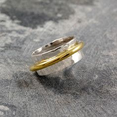 Duo Cone Spinning Ring Silver, by Otis Jaxon