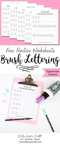 Free Lettering Practice Worksheets Brush Lettering Uppercase Letters by Kelly Sugar Crafts
