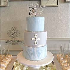 Blue and grey Marble cake for Baptism