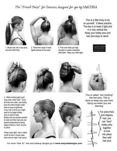 french twist for dancers I would love to try this this on my daughter, but she has frustratingly super thick, very long and slippery hair. Always finishes class with hair down.