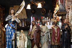 antique religious statuary and booze!