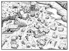 Commission:Anglo-Saxon village by ~StefanoMarinetti on deviantART