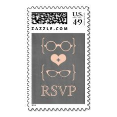 Peach Geeky Glasses Chalkboard RSVP Postage