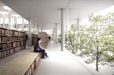 Inverted pyramidal stacked floors on pilotis; allows for tree canopies to be at person-height integrated into the space