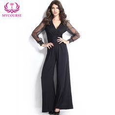 Find More Jumpsuits Information about MYCOURSE Elegant V neck Embellished Cuffs Long Mesh Sleeves Wide Leg Jumpsuit Women Loose rompers Club Party Rompers Jumpsuits,High Quality jumpsuits rompers women,China jumpsuits long Suppliers, Cheap jumpsuit romper from MYCOURSE on Aliexpress.com