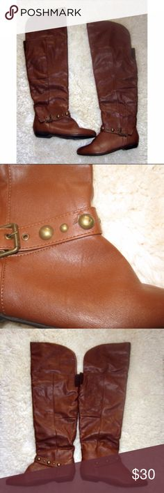 ROUGE Cognac Brown Over The Knee Boot 7 Rouge cognac brown over the knee boots.  Size 7 Manmande materials. Small nick on studded band across arch. (See close-up photo) No other flaws.  inventory LME ROUGE Shoes Over the Knee Boots