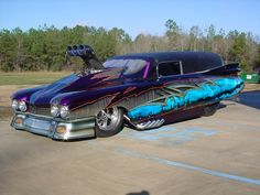 Just your every day Blown, injected, nitro Cadillac Hearse. Slot Car Drag Racing, Drag Cars, Auto Racing, Gas Monkey, Rat Rods, Muscle Cars, 1959 Cadillac, Flower Car, Ho Slot Cars