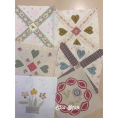 More blocks for month 7 Stonefields,hand pieced and appliquéd by Lisa Egan.