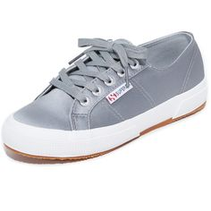Superga 2750 Satin Classic Sneakers (1.320.820 IDR) ❤ liked on Polyvore featuring shoes, sneakers, grey, tie shoes, superga sneakers, crepe sole shoes, superga and grey sneakers