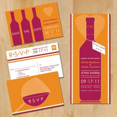 Modern Wine Wedding Invitation.