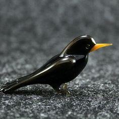 Black Glass #blackbird #bird Check out here:  http://crwd.fr/2k3vRRV  #EtsyForAll #EtsyShopOwner #EtsySeller #EtsyStore #EtsySale #EtsyLove #giftforme #art #fusedglass #handmade #etsysuccess #glasslife #glass #birds #yellowhammer #cute #littlebird #lovebirds #seagull