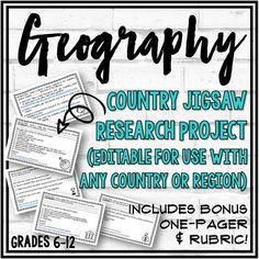 """Countries Research """"Jigsaw"""" ActivityIn this activity, students work in small groups researching one or more countries. Each group focuses on one of the five themes of Social Studies (Geography, History, Economics, Government, Culture) and vocabulary. I allow two class days to complete this activity."""