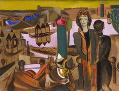 Wyndham Lewis - Masquerade in a Landscape John Bratby, Wyndham Lewis, Constructivism, Art Database, Art Uk, Keith Haring, Cubism, Landscape Art, Masquerade