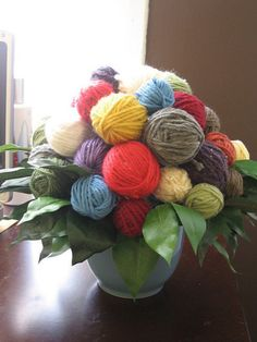 A Good Yarn Bouquet I thought I'd play around a bit with some yarn and a glue gun and see what I could do. This was made as a gift for the opening of A Good Yarn.Bouquet Bouquet, a word of French origin, pronounced [bu.kɛ], may refer to: Knitting Humor, Crochet Humor, Knitting Yarn, Knitting Club, Knitting Patterns, Yarn Bombing, Yarn Crafts, Diy And Crafts, Arts And Crafts