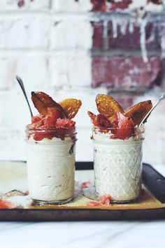 Cashew Cream with Caramelized Bananas + Grapefruit | Brewing Happiness