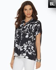 Chico's Black Label Exploded Floral Top #chicos