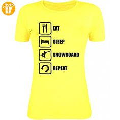 Eat Sleep Snowboard Repeat Funny Black Graphic Womens T-Shirt XX-Large (*Partner-Link)