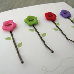 Button Notecards ~ Flowers