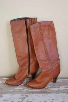 Vintage 1970's Caramel Leather Boots with Stacked Heel 7.5 M by pursuingandie, $49.95
