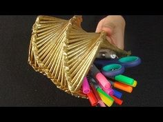 """Kağıttan Şekilli """"Kalemlik veya Vazo"""" - DIY Paper Folding Art - Şık, Kolay ve Geri Dönüşüm - YouTube"""